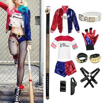 9pcs New Adult Role-Playing Harley Quinn Costume Halloween Suicide Squad Clothes Jacket Top T shirt Shorts Accessories For Women