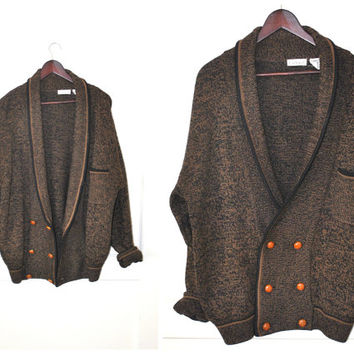 double breasted CARDIGAN speckled brown wool LONG oversized button down GRANDPA sweater