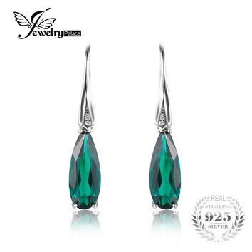 Jewelrypalace Water Drop 4.1ct Created Emerald Drop Dangle Earrings 925 Sterling Silver  925 Vintage Charms