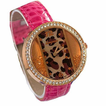Pink Womens Circle w/ Rectangle Leapard and Rhinestone Watch with Pink Leather Band