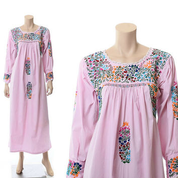 Vintage 70s Pink Oaxacan Embroidered Dress 1970s Long Sleeve Mexican Cotton Artisan Hippie Festival Boho Wedding Caftan Maxi Dress