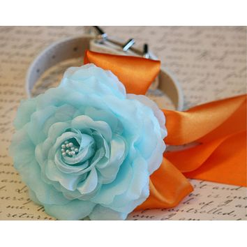 Blue and Orange wedding dog collar, Beach Wedding idea, Blue and Orange