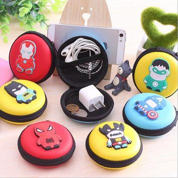 2016 New Novelty Super Heroes Silicone Coin Purse Key Wallet Mini Storage Organizer Bag Dual Earphone Holder Birthday Gift
