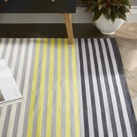 Colorstep Stripe Cotton Dhurrie Rug - Black/Sun Yellow