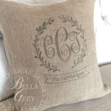 Triple Wreath Monogram Burlap Pillow Cover - Personalized Wedding Gift - Shabby Chic Anniversary Gift - Housewarming Gift - Engagement Gift