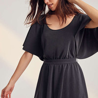 Silence + Noise Moonie Heavy Cupro Flutter-Sleeve Romper | Urban Outfitters
