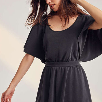 Silence + Noise Moonie Heavy Cupro Flutter-Sleeve Romper   Urban Outfitters