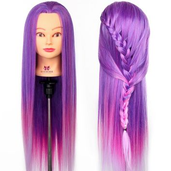 """26"""" Practice Training Head colorful High Temperature Fiber Hair Model Hairdressing Mannequin Doll Clamp Purple & Pink"""