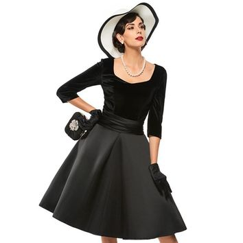 A-Line Party Dresses Black V Neck Women Short Sleeve Slim 1950s Rockabilly Vintage Dress Retro Style Pin Up Winter Dress