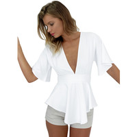 Elegant bow ruffles white chiffon blouse shirt Sexy v neck backless summer blouse Women tops short sleeve casual girls blusas OL