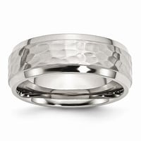 Men's Stainless Steel Beveled Edge Hammered and Polished Wedding Band Ring: RingSize: 9.5
