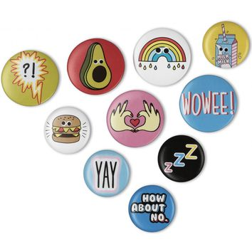 Mix & Match Badges - Set of 10 Pin-On Badges