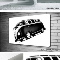 VW CAMPER VAN BLACK & WHITE Canvas