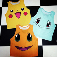 New 2015 Cartoon Pattern Women Crop Top Fashion Colorful Camis Sailor Moon Pokemon Pattern Sexy Sleeveless T-shirt Casual Tee