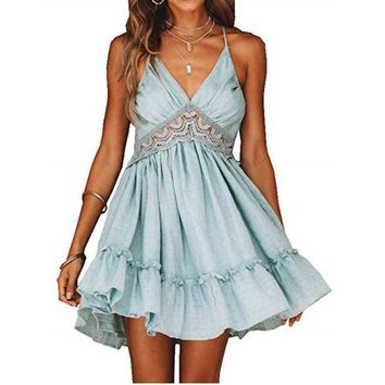 Women's Bombastic Blue Babydoll Backless Summer Skater Dress