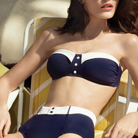 Dark Blue Bandeau High Waisted Swimsuit