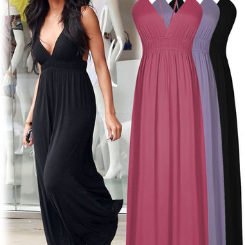 2016 Summer Hawaiian Beach Party Sun Long Dress Women Casual Deep V Neck Maxi Dress Gowns Red Black Lavender Women Clothing