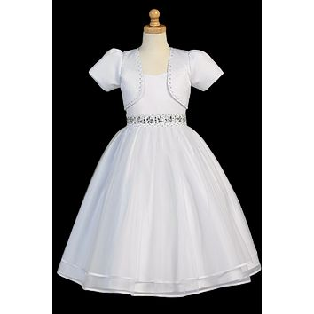 Beaded Communion Dress w. Organza Skirt & Jacket Girls Plus 8x-20x