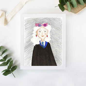 Luna Lovegood Print, Giclee, Office Nursery Decor, Minimalist Illustration Wall Art