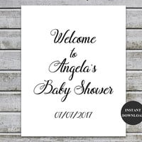 Baby Shower Welcome Sign Template, Welcome Baby Shower Sign, Table Signs for Baby Shower, Instant Download, DIY, Welcome Template (v32-1)