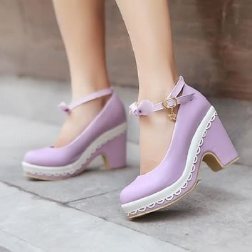 Womens High Heel Chunky Creeper Bowknot Bow tie Strap Lolita Mary Jane Sandal Shoes Pumps Sweet Candy Colors