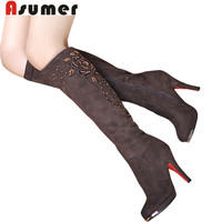 ASUMER 2016 new fashion boots sexy lady shoes high heels knee high boots flock beading women's snow winter long motorcycle boots