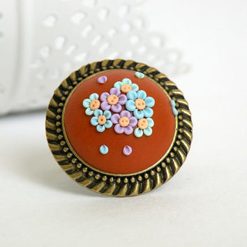 Orange-Blue-Lilac Ring from Polymer Clay. Polymer clay filigree ring. Polymer Clay Appliqué Technique
