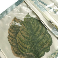 Accessory Bag Vinyl Zipper Jewelry Pouch Small Cosmetic Case  Botanical Print