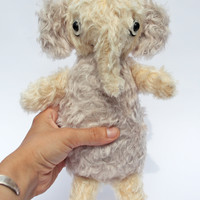 gray and cream mohair elephant