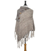 Taupe Wrap Around Knite Poncho