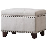 Jonas Fabric Rectangular Nailhead Tufted Storage Ottoman Sand