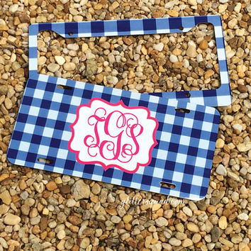 NEW! Gingham Monogram License Plate Frame - Monogram Car Tag Front License Plate Personalized Plate
