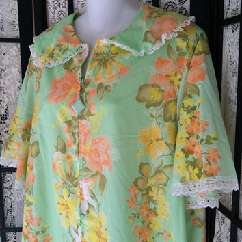"Vintage Long Duster House Coat Robe Tropical Flowers XL 48 "" Bust USA"