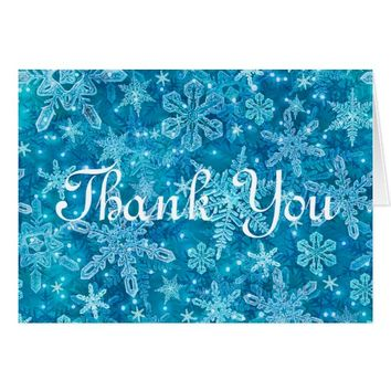 Beautiful Snowflakes Texture Thank You Note Card