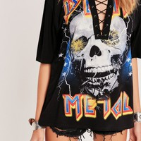Missguided - Death Metal Skull Lace Up T Shirt Black