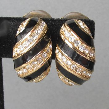 Authentic Vintage Signed Christian DIOR Black Enamel Rhinestone 1980's Demi Hoop Shrimp Earrings