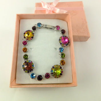 Bracelet Multicolor Round Rhinestone Clusters Sparkling Ruby Red Purple Emerald Green Blue Silver Tone Chain Prom Jewelry Assemblage Jewelry