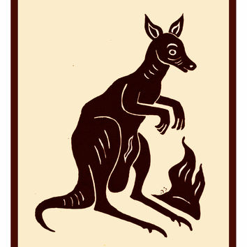 Russian Folk Art Animal Kangaroo by Issachar Ber Ryback's Counted Cross Stitch or Counted Needlepoint Pattern