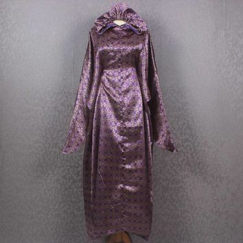 Sakura Japan Fancy Caftan Dress Maxi Dress Purple Gold Hoodie Kaftan Dress