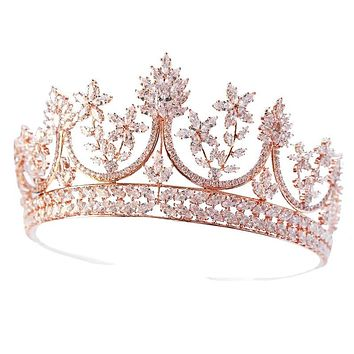 Rose Gold Plate Tiaras Crowns Crystal Bridesl Zircon Wedding Hair Accessories