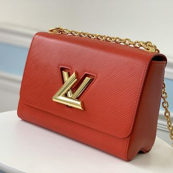 Louis Vuitton LV Women Leather Shoulder Bag Crossbody Satchel Handbag Red
