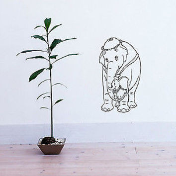 WALL VINYL DECAL STICKER MURAL BABY KID ROOM ELEPHANT MOTHER AND CHILD D1211