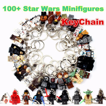 Single sales star wars Handmade DIY Minifigures keychain Darth vader yoda kylo ren Key chain Building Blocks ACTION FIGURES Toys