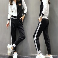 """Gucci"" Women Casual Fashion Multicolor Stripe Tiger Head Long Sleeve Zip Cardigan Trousers Set Two-Piece Sportswear"