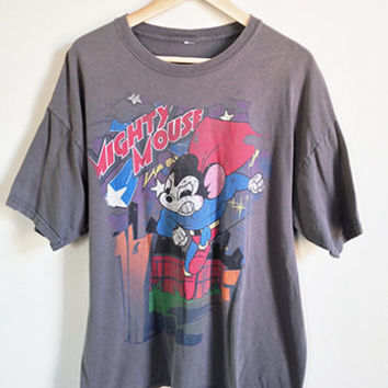 Distressed Vintage Mighty Mouse T Shirt -- 80s Cartoon Graphic Tee -- Ripped & Faded -- Soft Grey Cotton -- Mens Extra Large XL