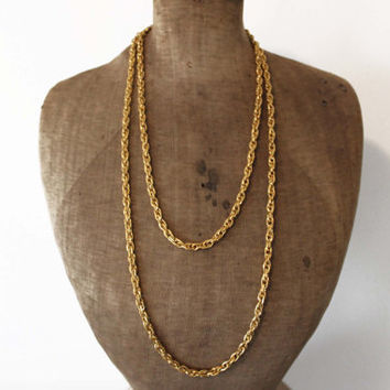 Trifari Gold Necklace - Trifari Gold Chain Necklace - Long Chunky Gold Chain Necklace