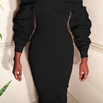 Black Boat Neck Off Shoulder Lantern Sleeve Fashion Bodycon Midi Dress