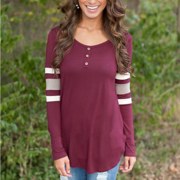 Buttoned Striped Long Sleeve Top