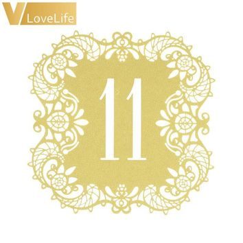 10pcs Beige Gold Hollow Lace Table Number Table Cards Rustic Wedding Party Dining Centerpieces Decor Vintage Wedding Decoration