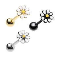 Silver & Black & Golden Daisy Flower Barbell Tongue Ring
